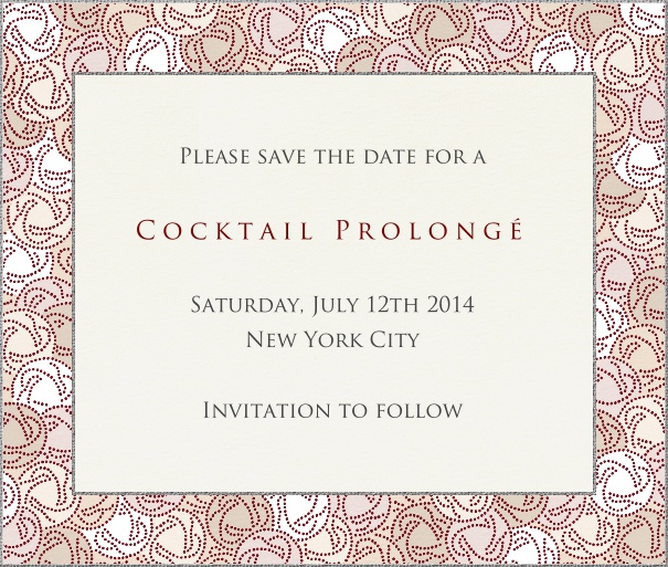 Beige Classic Party Save the Date Card with Floral Border.