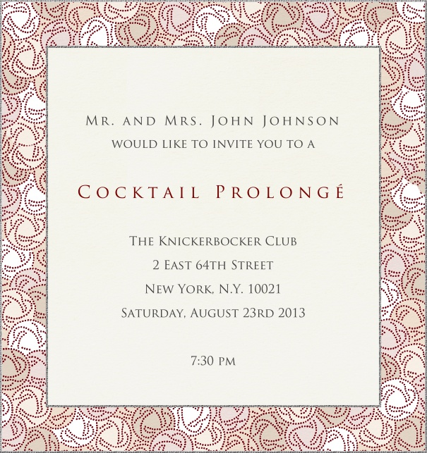 High Format Beige Classic Cocktail Invitation Card customized with geometric border.