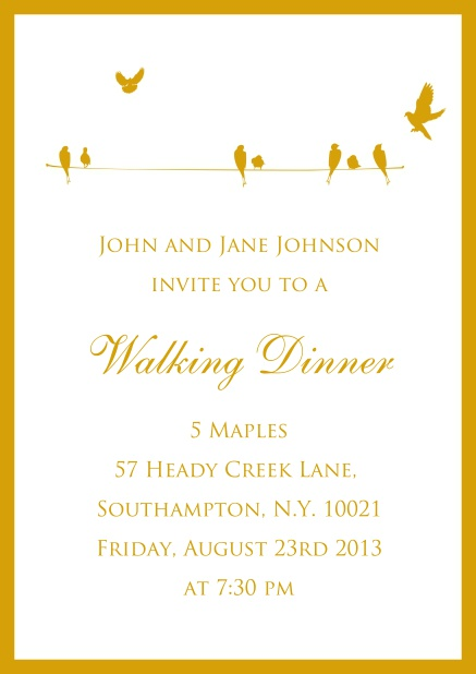 Online Invitation card for wedding, birthday oder spring invitations with yellow birds.