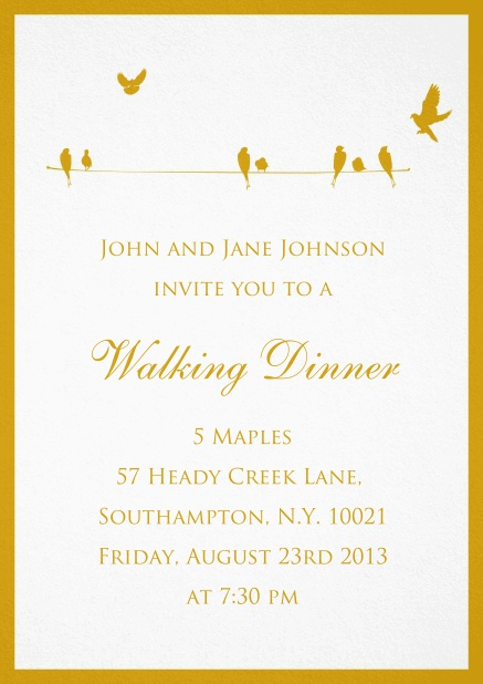 Invitation card for wedding, birthday oder spring invitations with yellow birds.