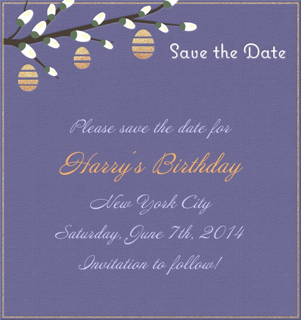High Dark Blue Spring Themed Seasonal Birthday Save the Date Card with Branch in Bloom.