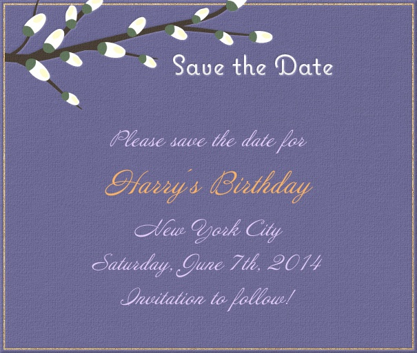 Dark Blue Spring Themed Seasonal Birthday Save the Date Card with Branch in Bloom.