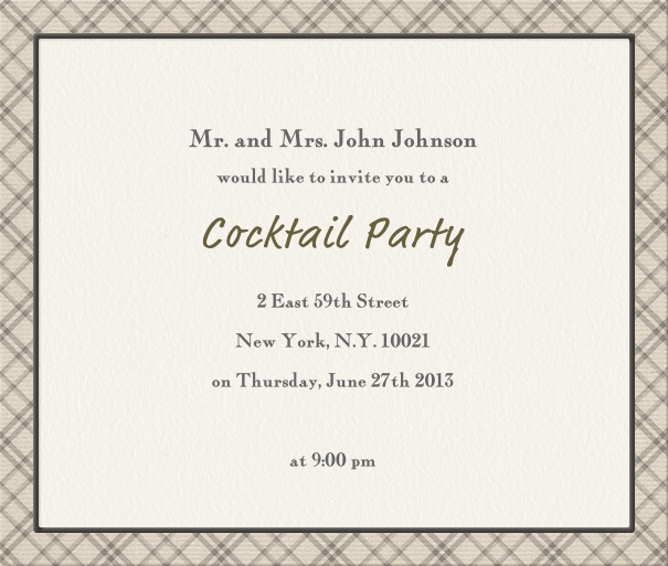 Beige, classic Party Invitation with geometric border.