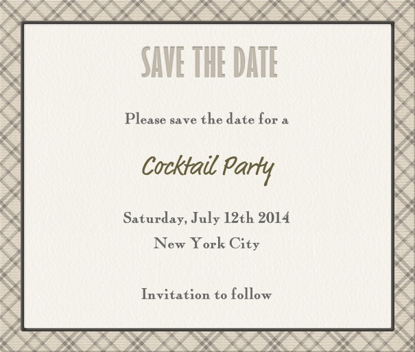 Beige Classic Party Save the Date Card with Geometric border.
