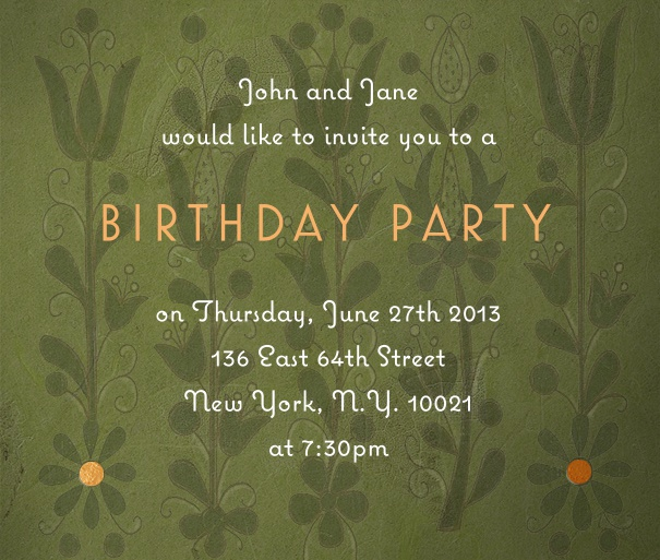 Square Green Spring themed invitation card with Flower background.