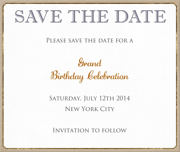 White classic Wedding Save the Date Template with Brown Border.
