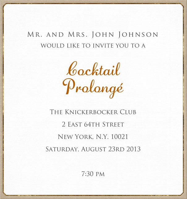 White, classic Invitation Card with tan border.