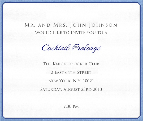 White, classic Invitation Card with blue border.