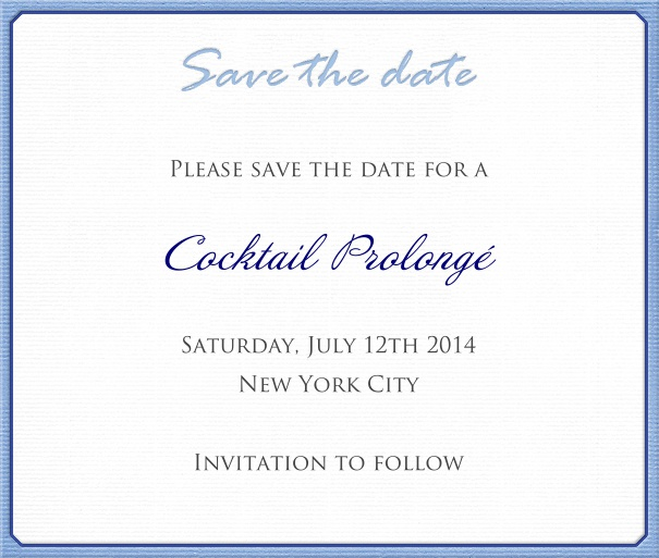 White classic Wedding Save the Date Card with Blue Border.