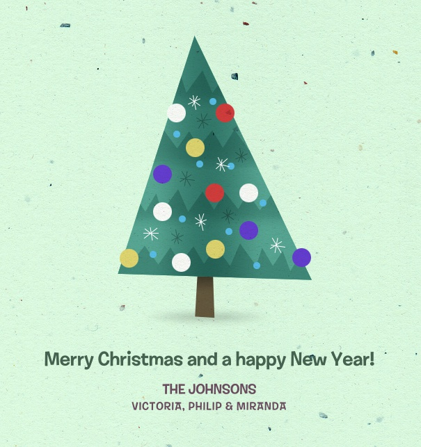 Christmas Card online with cartoon Christmas Tree.