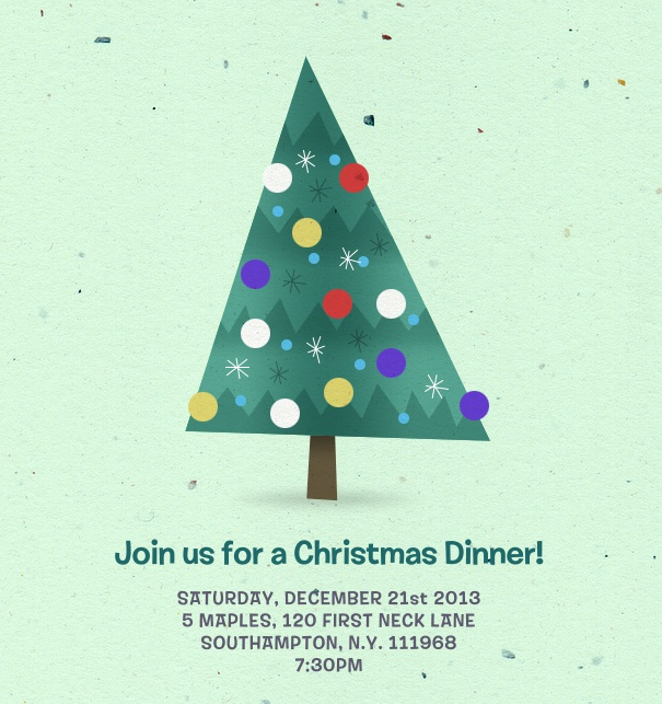 Turquoise Christmas Invitation with Christmas Tree customizable online.