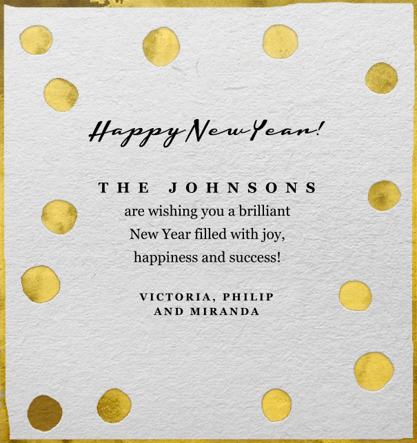 White Online Card for celebrations with golden dots and customizable text.
