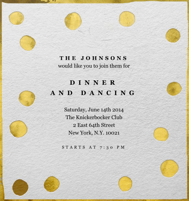 Online Invitation for celebrations with golden dots and customizable text.