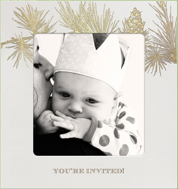 Christmas Photo Invitation with Photo and Gold Pine Branch.