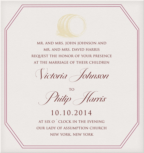 Wedding Invitation with pink border and yellow barrel motif.