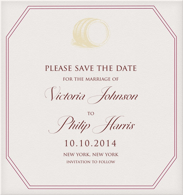 Wedding Save the Date design online by Pink Orange with Pink Border and yellow barrel motif.