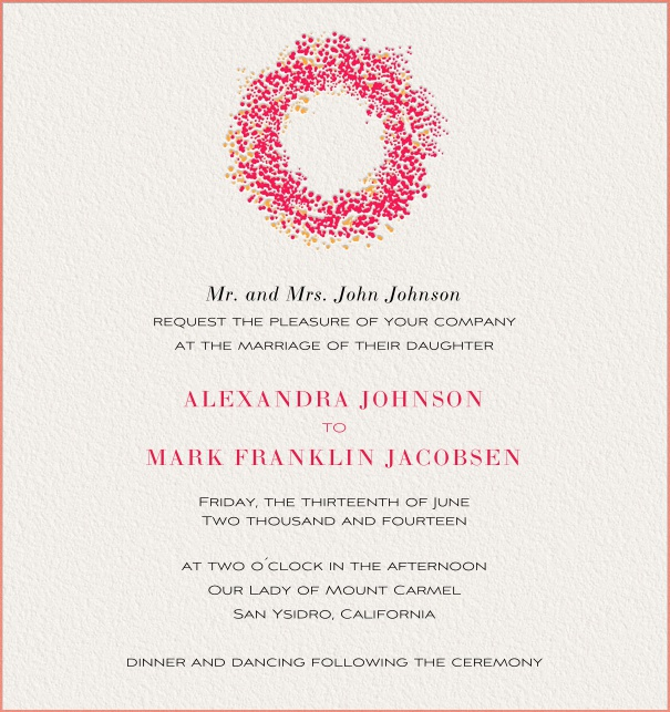 Pink Online Wedding Invitation for spring with wreath.