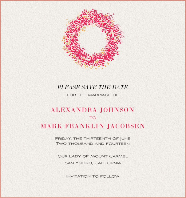 Pink Online Save the Date Card with floral wreath and pink border.