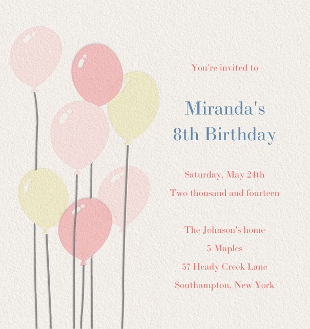 Online Birthday Invitation With Balloons And Custom Text