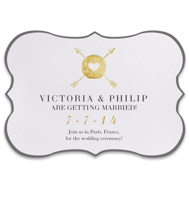 Modern Online Wedding Invitation with golden arrows and heart theme.