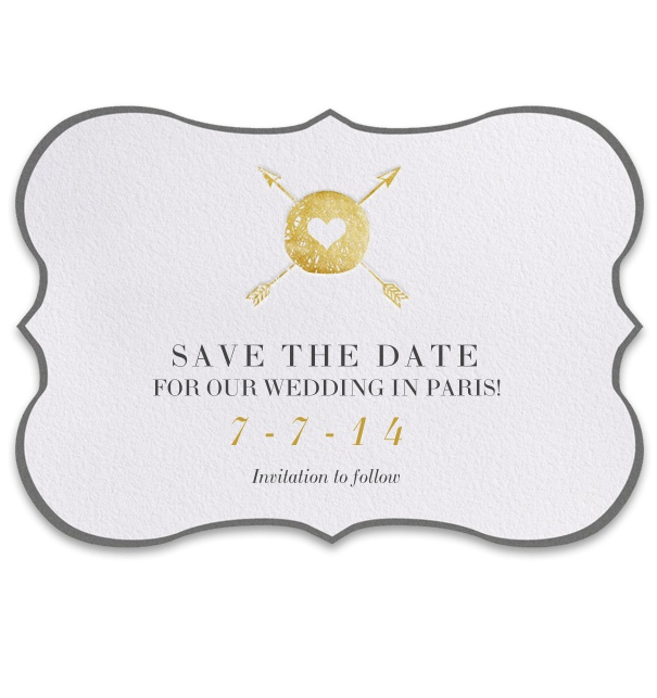 Customizable Online Save the Date Card with spear and gold heart theme.