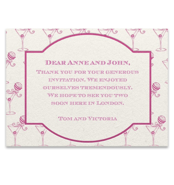 Online birth announcement card with pink cocktail glasses and frame.