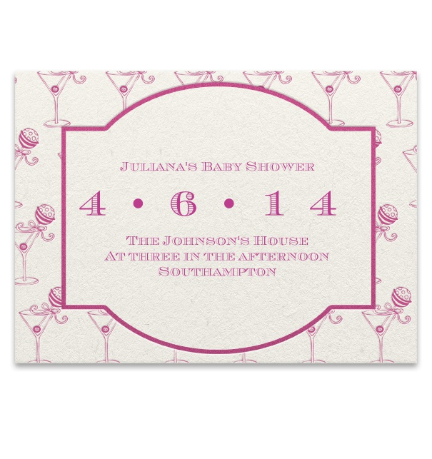 Pink Invitation for a Baby Shower.