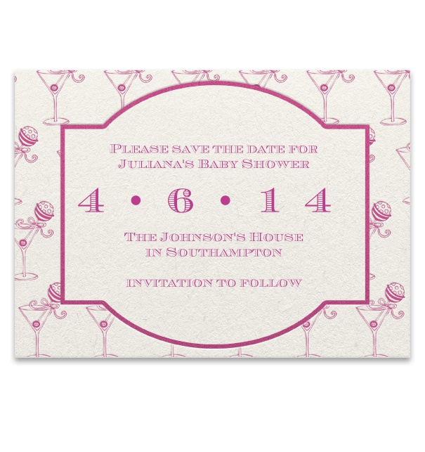 Pink Save the Date Template for baby shower.