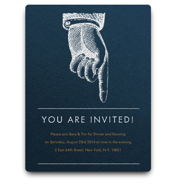 Simple Blue Invitation card with retro hand and pointing finger engraving and shadows.