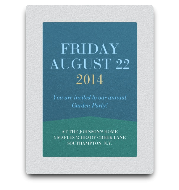 Simple green and blue invitation card design in minimalist style.