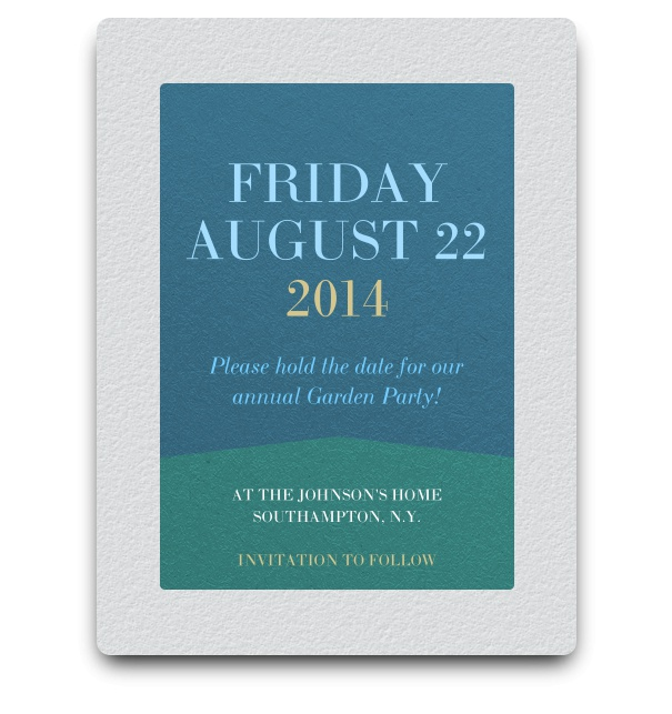 White background Save the Date online card with blue and green squared textbox.