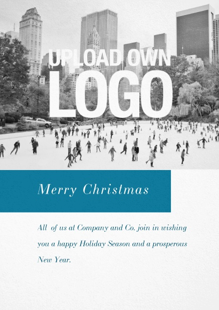 Corporate Christmas card with photo field, own logo option and red text field. Blue.