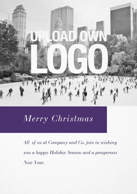 Corporate Christmas card with photo field, own logo option and red text field. Gold.