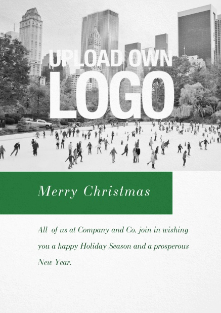 Corporate Christmas card with photo field, own logo option and red text field. Green.