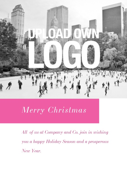 Online Corporate Christmas card with photo field, own logo option and red text field. Grey.