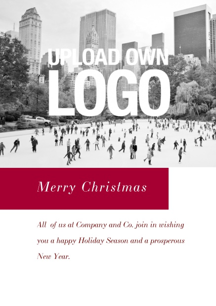 Online Corporate Christmas card with photo field, own logo option and red text field. Red.