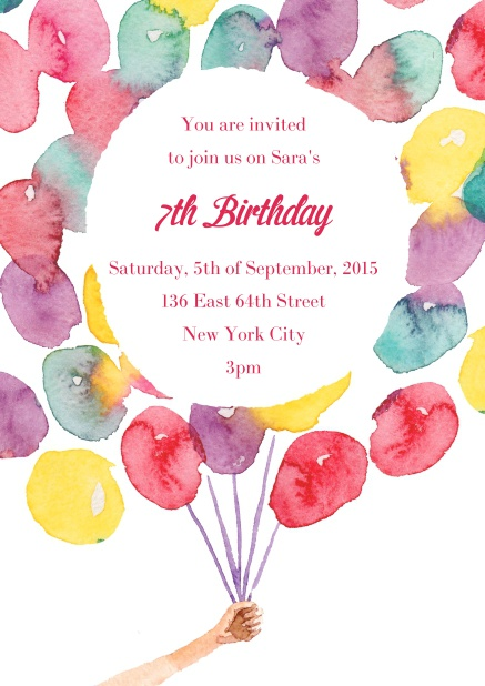 Online Birth announcement or Birthday invitation card with a bunch of balloons.