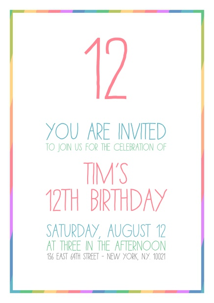 Childrens Online Birthday Invitation Card With Rainbow Frame And Number