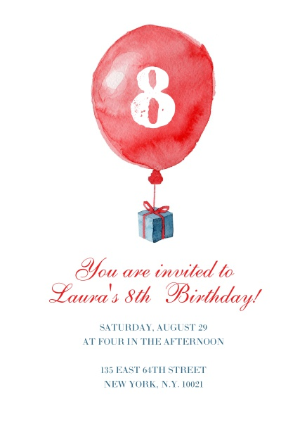 Watercolor painted card with a large red balloo for a 8th Birthday invitation online.