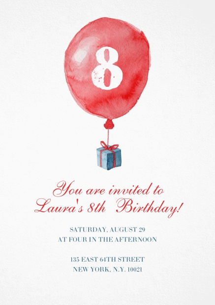Children's Birthday invitation card with red balloon carrying a present.