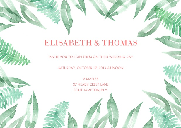 Online invitation card with fern watercolor design.