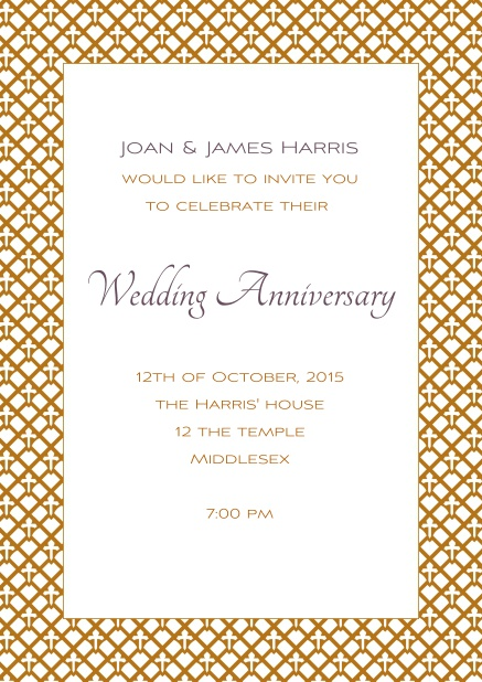 Online Wedding anniversary invitation with golden frame.