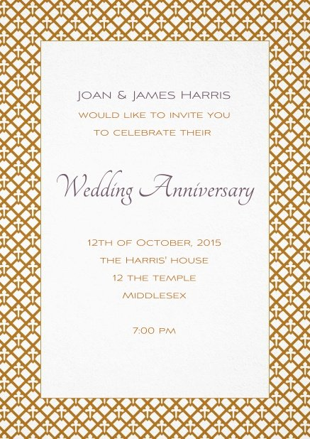 Wedding invitation card with golden art nouveau style frame and editable text.