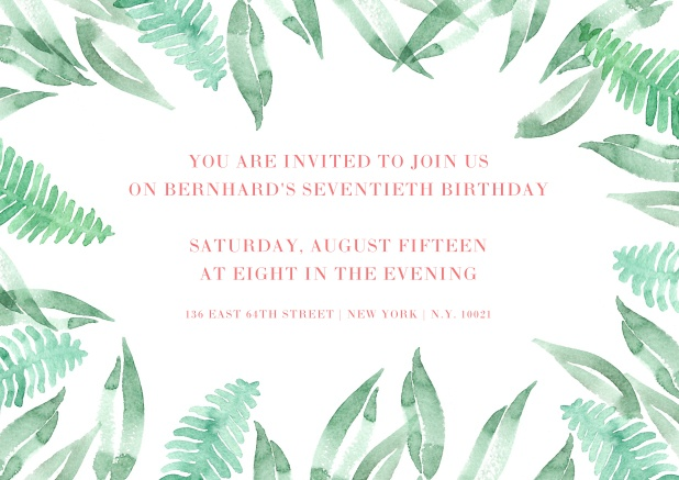 Online Invitation Framed With Green Leaves For 70th Birtday