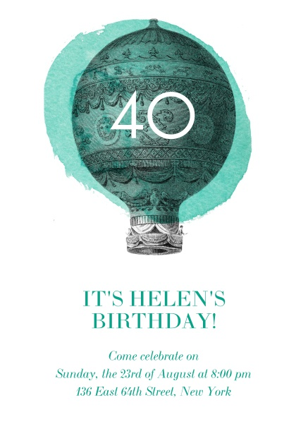 Air 40th 40th birthday online 40th birthday invitation card with a hot air balloon and editable text filmwisefo