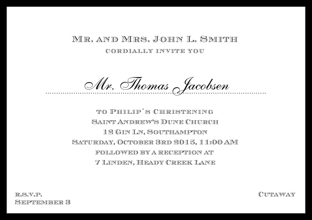 Online Traditional invitation card with a outer frame to a Christening in many color variations including a line for the gues's name. Black.