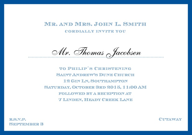 Online Traditional invitation card with a outer frame to a Christening in many color variations including a line for the gues's name. Blue.