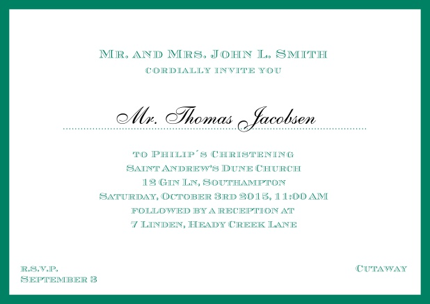Online Traditional invitation card with a outer frame to a Christening in many color variations including a line for the gues's name. Green.