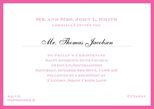 Online Traditional invitation card with a outer frame to a Christening in many color variations including a line for the gues's name. Pink.