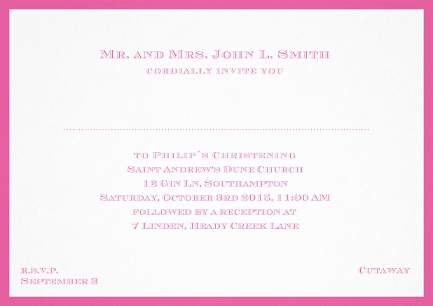 Traditional invitation card with a outer frame to a Christening in many color variations including a line for the gues's name. Pink.